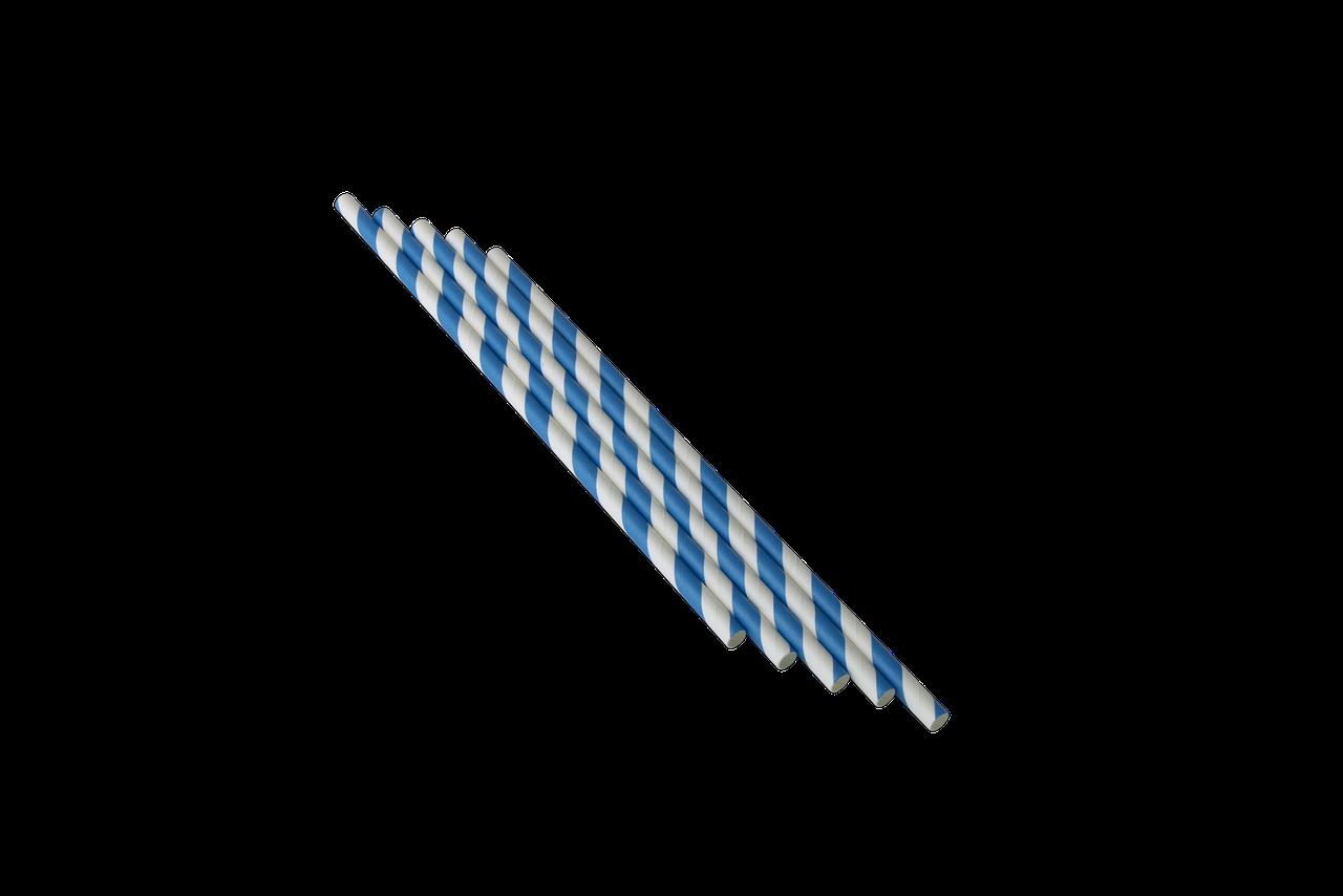 Трубочка бумажная B.A.R. 197x6 мм, Красная полоска (2128)