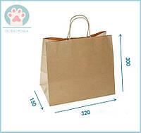 Коричневий паперовий крафт пакет з ручками для пакування подарунків, товарів та їжі 320х150х300