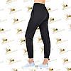 Утеплені жіночі брюки на манжеті чорна трехнитка на флісі, фото 2