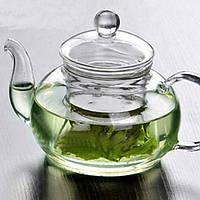 Заварочный стеклянный чайник со стеклянным ситечком HLS 600 мл (6806), фото 1