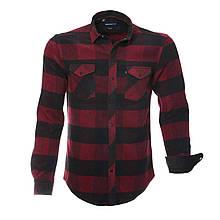 Рубашка мужская бордовая клетчатая с длинными рукавами, флисовая в клетку