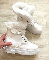 Ботинки белые женские зимние лаковые с опушкой