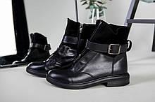 Женские зимние черные ботинки, кожа и замша