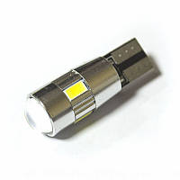 LED Galaxy T10 ( W5W ) CAN 5630 4SMD + 2SMD Lens White (Белый), фото 1