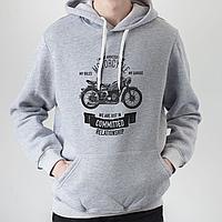 Мужское серое худи, с мотоциклом, фото 1