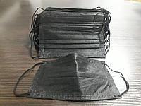 Маска защитная медицинская трехслойная, черная (паянная) есть БЕЗНАЛ