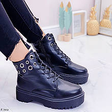 Женские ботинки ЗИМА черные на шнуровке эко кожа