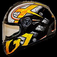 Мотошлем FXW HF-122 solid yellow закрытый шлем интеграл, full-face жёлтый глянцевый с узором