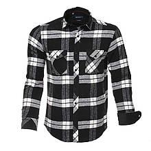 Рубашка мужская модная клетчатая с длинными рукавами черно-белая флисовая в клетку