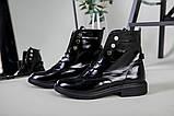 Черевики жіночі шкіра наплак чорного кольору, на шнурках, зимові, фото 2