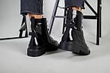 Черевики жіночі шкіра наплак чорного кольору, на шнурках, зимові, фото 3
