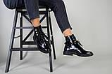 Черевики жіночі шкіра наплак чорного кольору, на шнурках, зимові, фото 5