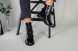 Черевики жіночі шкіра наплак чорного кольору, на шнурках, зимові, фото 6
