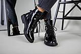 Черевики жіночі шкіра наплак чорного кольору, на шнурках, зимові, фото 7