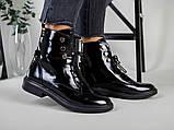 Ботинки женские кожа наплак черного цвета, на шнурках, зимние, фото 8