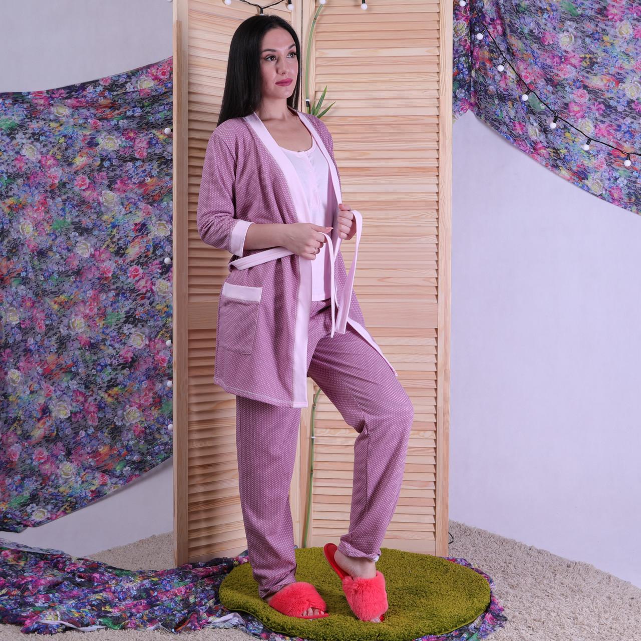 "Теплая тройка халат с пижамой ""Пудра"" р.42-54"