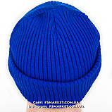 Шапка двойная ребристая вязка с вышивкой футбольной команды УКРАИНА, фото 5