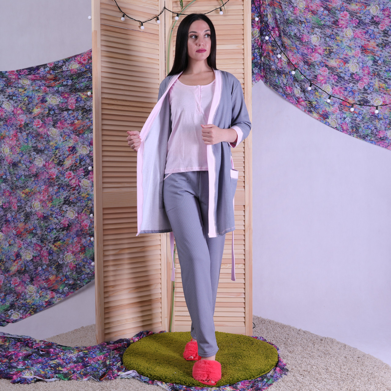 """Теплая тройка халат с пижамой """"Мирта"""" р.42-54р."""