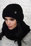 Женская вязаный набор : шапка и шарф - хомут из акрила 61gol272