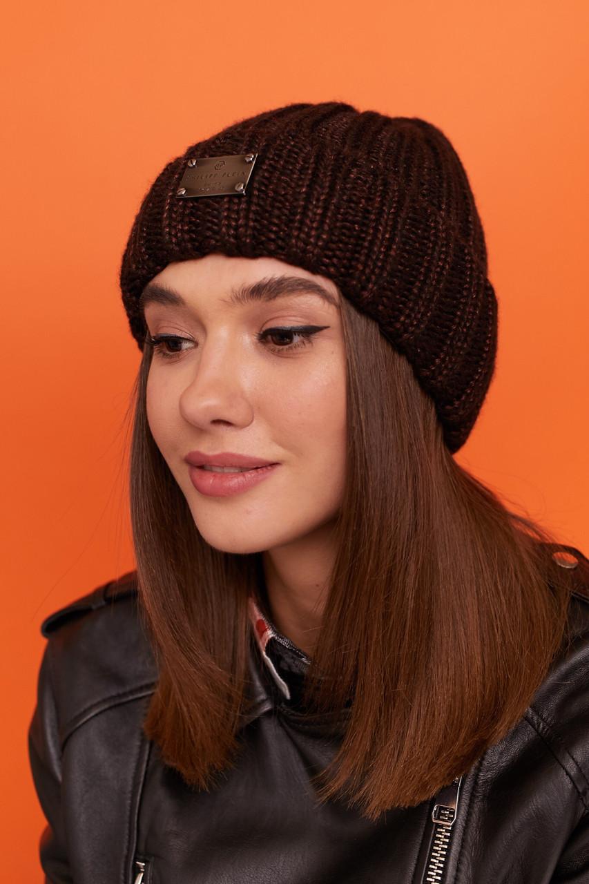 Женская вязаная шапка с подворотом утепленная флисом 61gol277