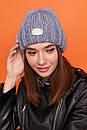 Женская вязаная шапка с подворотом утепленная флисом 61gol277, фото 4