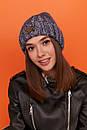 Женская вязаная шапка с подворотом утепленная флисом 61gol277, фото 10