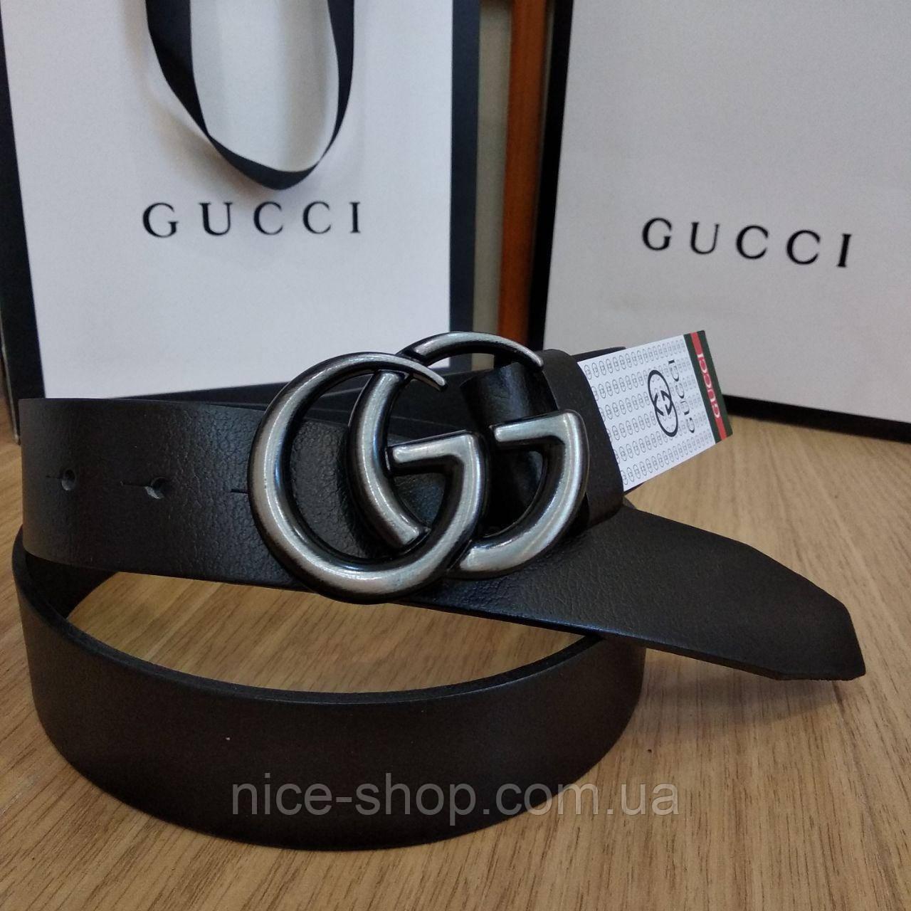 Ремень Gucci кожаный черный с пряжкой серебро матовое, 3.7см
