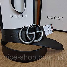 Ремінь Gucci чорний шкіряний з пряжкою срібло матове, 3.7 см