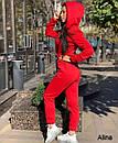 Женский комбинезон на флисе с капюшоном и молнией спереди, на талии кулиска 38spt1151, фото 10