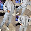 Женский спортивный костюм из трехнитки на флисе с карманами и капюшоном (р. 42-52) 11spt1152, фото 5