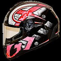 Мотошлем FXW HF-122 solid pink закрытый шлем интеграл, full-face розовый глянцевый с узором