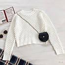 Женская укороченная кофта машинной вязки с сумочкой в комплекте (р. 42-44) 77ddet952, фото 2
