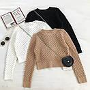 Женская укороченная кофта машинной вязки с сумочкой в комплекте (р. 42-44) 77ddet952, фото 4