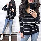 Женский вязаный свитер с V-вырезом и спадающим плечом, узор - тонкие полоски (р. 42-46) 9ddet961, фото 7