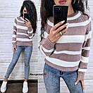 Женский вязаный свитер в полоску с рукавом регланом и с шерстью в составе (р. 42-46) 9ddet962, фото 2