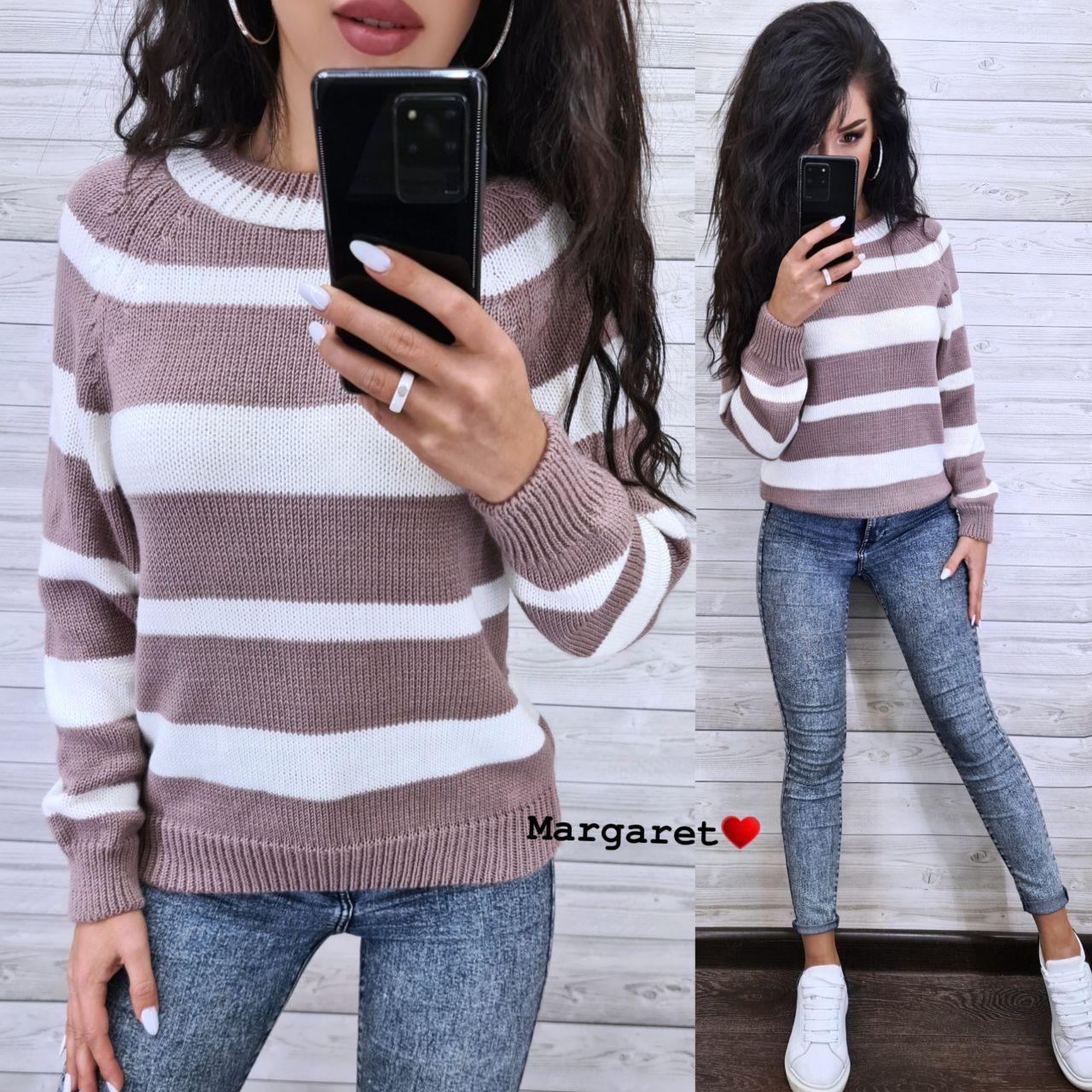 Женский вязаный свитер в полоску с рукавом регланом и с шерстью в составе (р. 42-46) 9ddet962