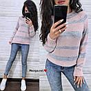 Женский вязаный свитер в полоску с рукавом регланом и с шерстью в составе (р. 42-46) 9ddet962, фото 4