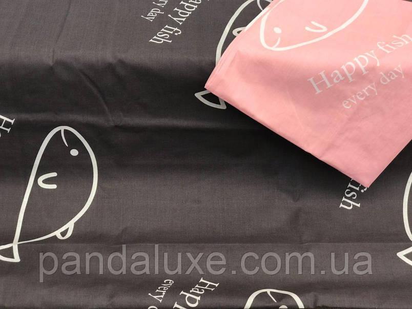 Постельное белье бязь голд, двуспальный семейный комплект Счастливая рыба, фото 2