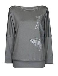 Трикотажная женская кофта Бабочки больших размеров для полных с вырезом