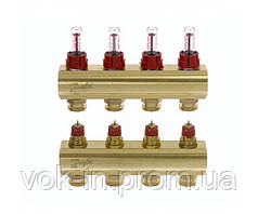 Колектор з витратоміром 4 виходу DANFOSS FHF-4F 088U0524