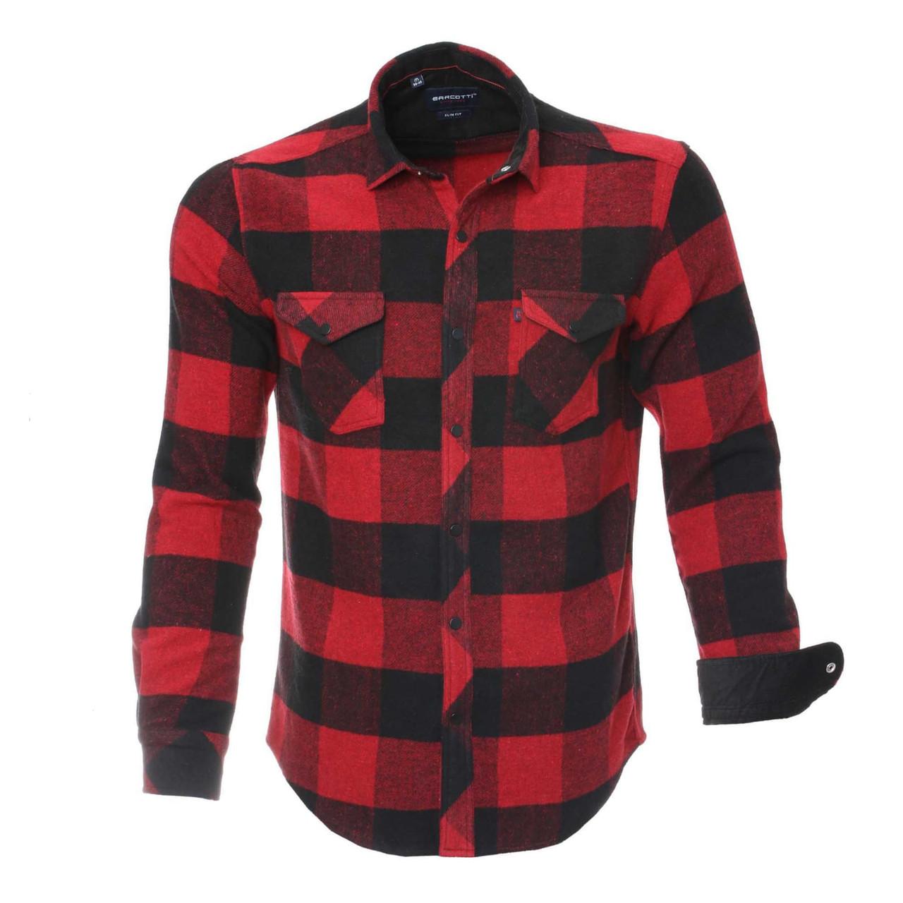 Мужские рубашки в клетку красно-черные с длинным рукавом, рубашка флисовая на кнопках