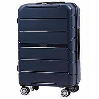 Большой пластиковый чемодан на 4 колесах Wings PP05 L (синий / dark blue)