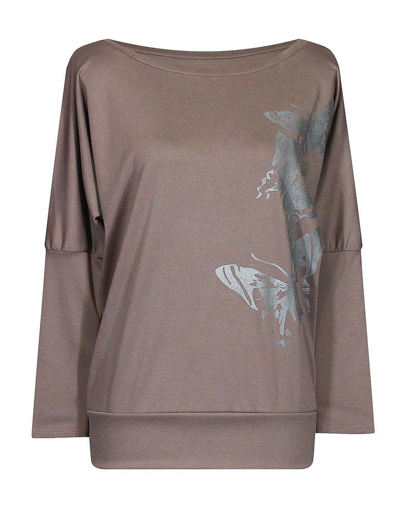 Модная женская кофта Бабочки больших размеров для полных с вырезом