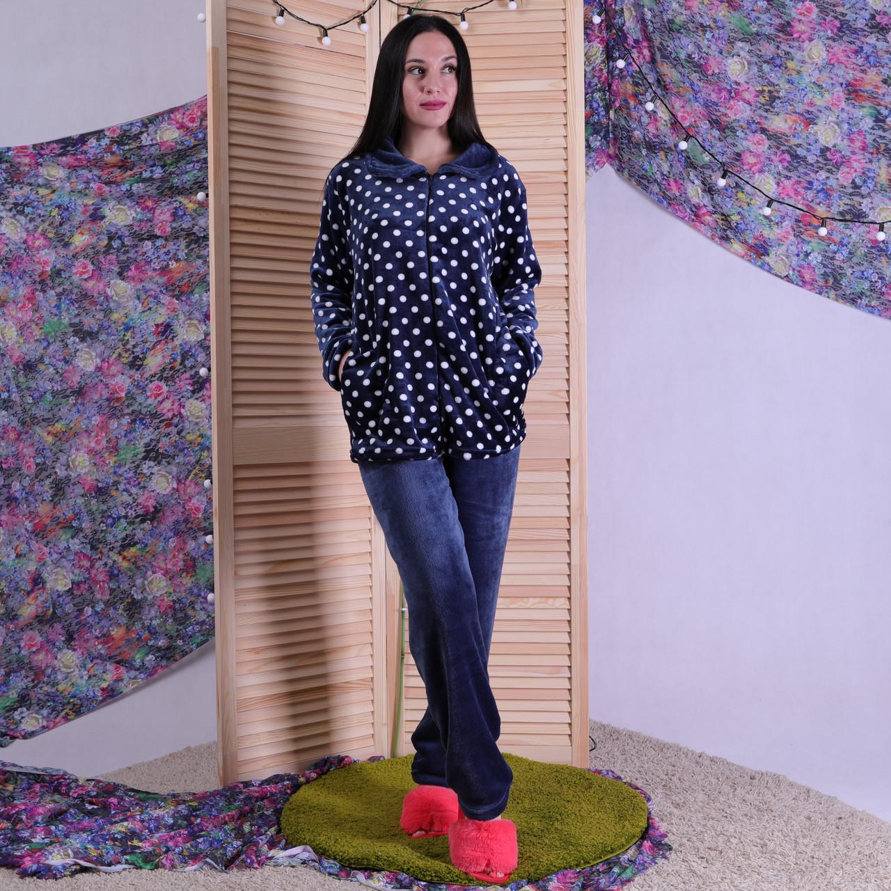 """Махровая пижама воротник """"Горох"""" 48-56р."""
