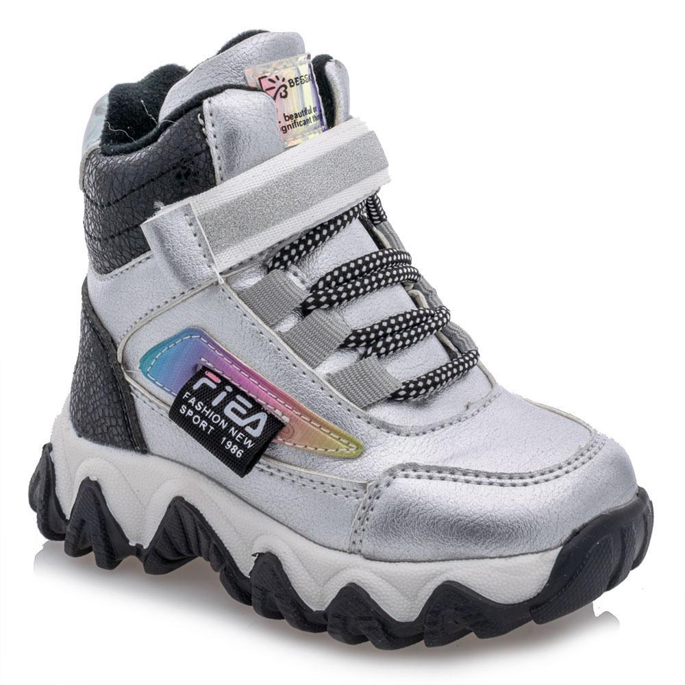 Ботинки зимние для девочек Bessky 23  серебряные 981273