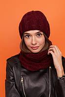 Женская вязаный набор : шапка на флисе и шарф - хомут из акрила 61mgo276, фото 1