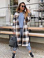 Довге Жіночі пальта - сорочка в клітку на гудзиках з вовни (р. 42-46) 36mpa312, фото 1