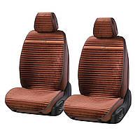 """Накидки универсальные """"Elegant"""" NAPOLI на переднее сидения авто темно-коричневые"""