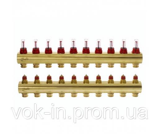 Колектор з витратоміром 10 виходів DANFOSS FHF-10F 088U0530, фото 2