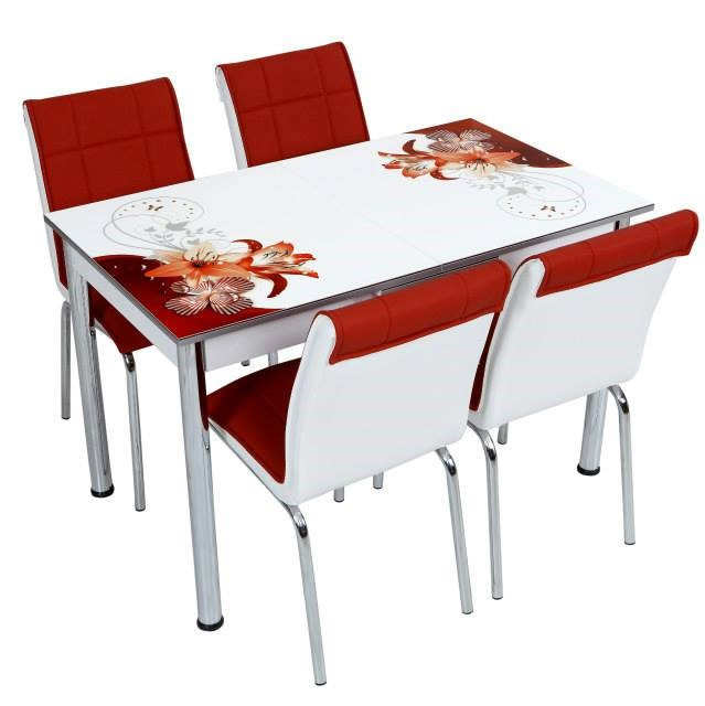 """Комплект обеденной мебели """"Лилия"""" (стол ДСП, каленное стекло + 4 стула) Лидер, Турция"""